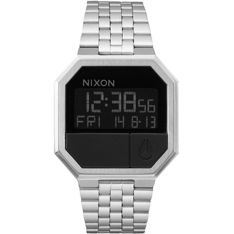 Nixon A158000 Men's Re-Run Black Digital Display Quartz Watch, Silver Stainless Steel Band, Square 38.5mm Case