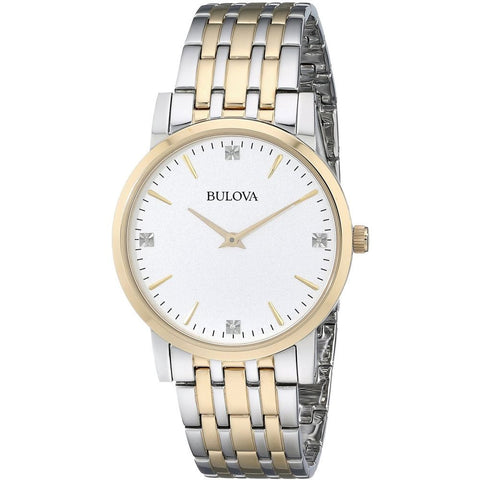 Bulova 98D114 Diamond Men's Analog Display Quartz Watch, Silver/Gold Stainless Steel Band, Round 38mm Case