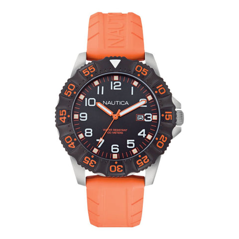Nautica N12641G NSR 103 Men's Analog Display Quartz Watch, Orange Rubber Band, Round 45mm Case