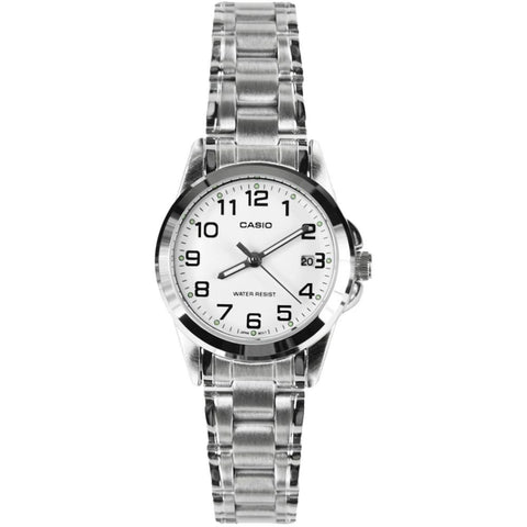 Casio LTP-1215A-7B2DF Analog Display Quartz Watch, Silver Stainless Steel Band, Round 26mm Case