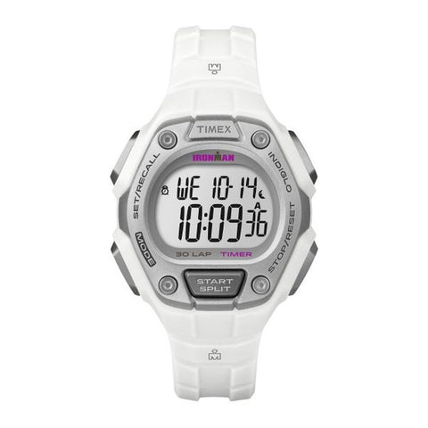 Timex TW5K894009J Ironman Classic 30 Women's Digital Display Quartz Watch, White Resin Band, Round 36mm Case