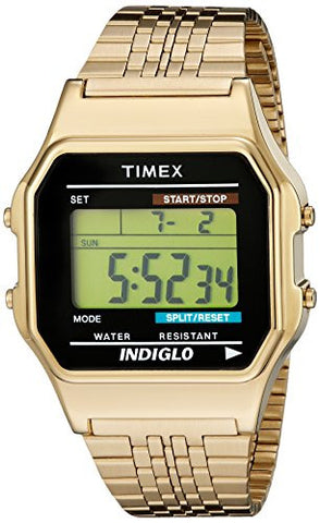 Timex TW2P48200AB Originals 80 Digital Display Quartz Unisex Watch, Gold Stainless Steel Band, Square 35mm Case