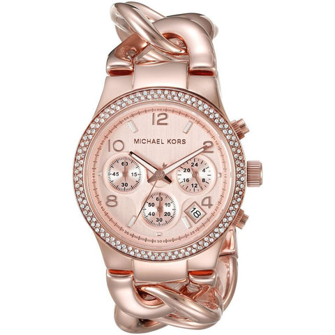 Michael Kors MK3247 Runway Twist Analog Display Chronograph Quartz Watch, Rose Gold Stainless Steel Interlocking Chain Band, Round 38mm Case