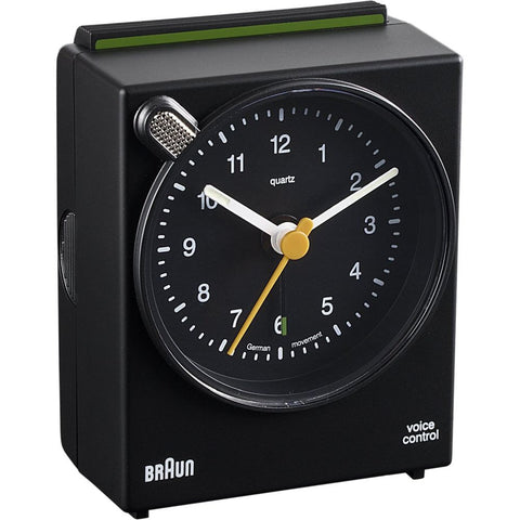 Braun BNC004BKBK Voice Activated Analog Display Quartz Alarm Clock, Black Rectangle Case