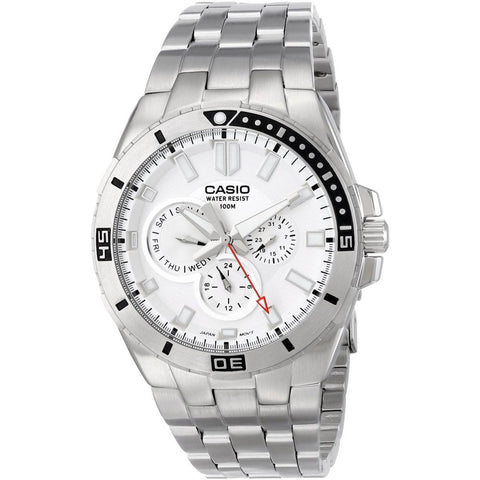 Casio MTD-1060D-7AVDF Analog Display Quartz Watch, Silver Stainless Steel Band, Round 45.5mm Case