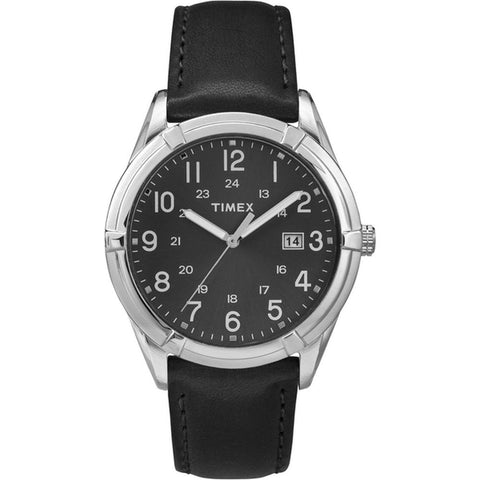 Timex TW2P767009J Easton Avenue Men's Analog Display Quartz Watch, Black Leather Band, Round 39.5mm Case
