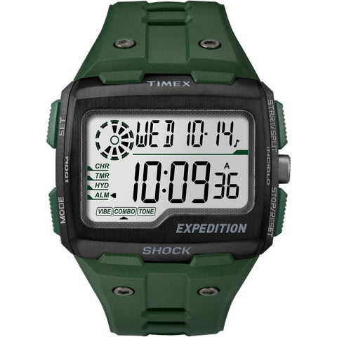 Timex TW4B02600 Expedition Grid Shock Men's Digital Display Quartz, Green Resin Band, Rectangle 50mm Case