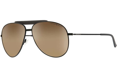 Emporio Armani EA9807/S 003/W8 Sunglasses, Matte Black Frame, Brown Mirror 60mm Lenses