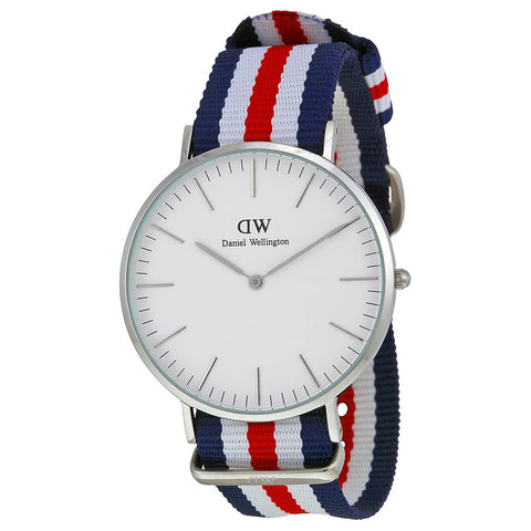 Daniel Wellington 0202DW Canterbury Quartz Analog Men's Watch, NATO Nylon Band, Silver 40mm Case