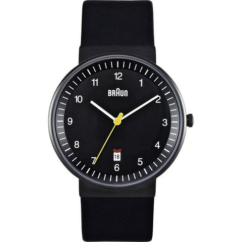 Braun BN0032BKBKG Classic Analog Display Quartz Watch, Black Leather Band, Round 40mm Case