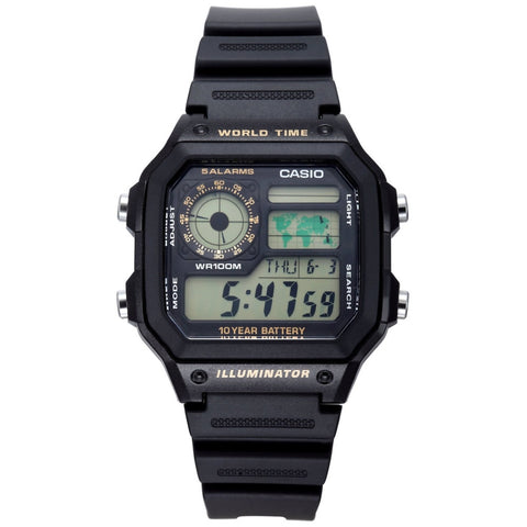 Casio AE1200WH-1B Men's Digital Display Quartz Watch, Black Resin Band, Square 42mm Case