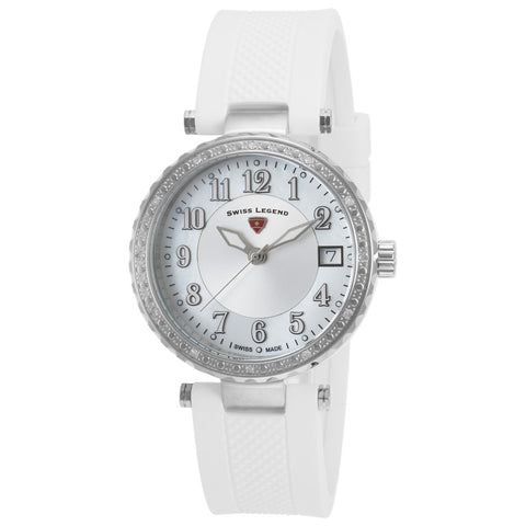 Swiss Legend SL-16002SM-02-WHT Sea Breeze Women's Analog Display Quartz Watch, White Silicone Band, Round 35mm Case