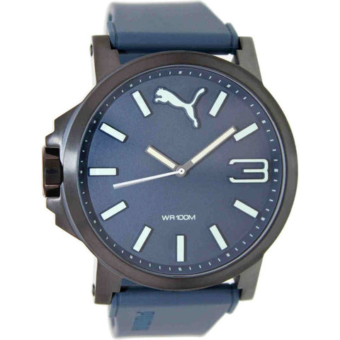 Puma Men's PU103461005N Ultrasize Analog Watch, Blue Rubber Band, Round 50mm Case