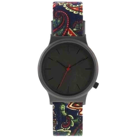 Komono KOM-W1824 Wizard Print Series Paisley Analog Quartz Watch, Multicolour Fabric Band, Round 37mm Case