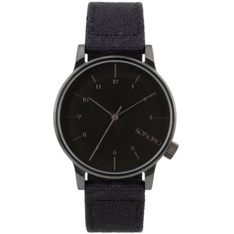 Komono KOM-W2121 Winston Heritage Duotone Black Analog Quartz Watch, Black Canvas Band, Round 41mm Case