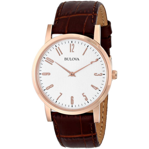 Bulova 97A106 Classic Analog Display Quartz Watch, Brown Leather Band, Round 38mm Case