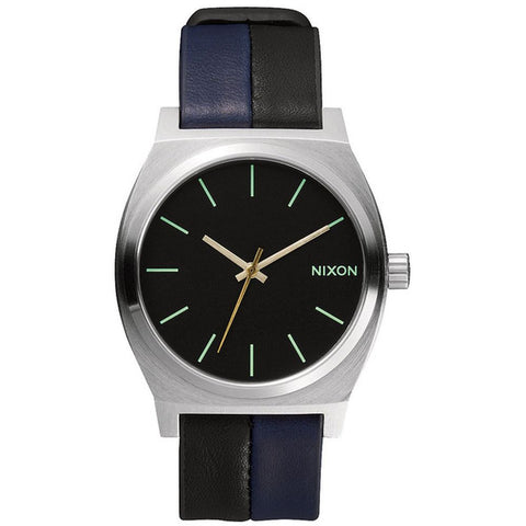Nixon Men's A0451938 Time Teller Black/Navy/Black Analog Watch, Two-Tone Leather Band, Round 37mm Case