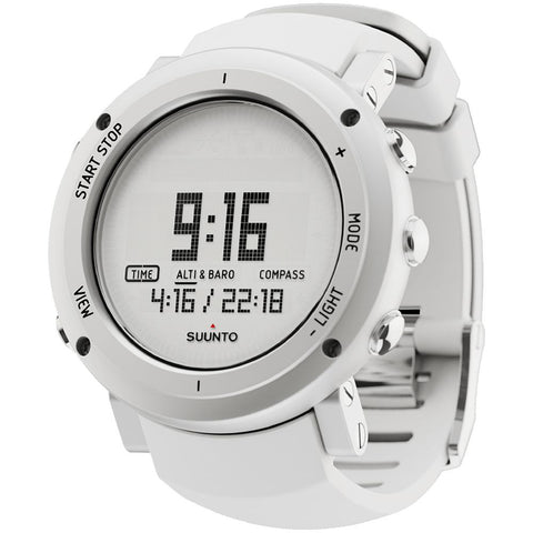 Suunto SS018735000 Core Alu Pure White Digital Display Quartz Watch, White Silicone Band, Round 49.1mm Case