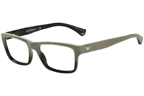 Emporio Armani EA3050 5346 Eyeglasses, White Gradient Black On Black Frame, Clear 53mm Lenses