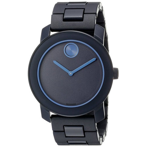 Movado 3600314 Bold Unisex Analog Display Quartz Watch, Navy Blue Polyurethane & Stainless Steel Link Band, Round 42mm Case