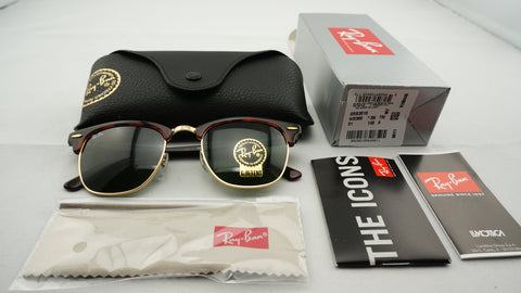 Ray-Ban RB3016 W0366 Clubmaster Classic Sunglasses, Tortoise Frame, Green Classic 51mm Lenses