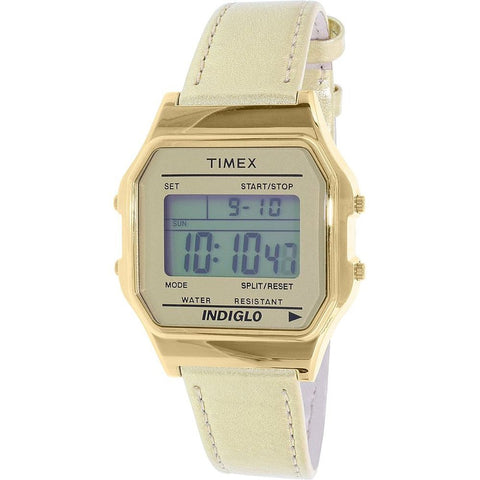 Timex TW2P76900AB 80 Heritage Collection Digital Display Quartz Unisex Watch, Gold Leather Band, Square 34mm Case