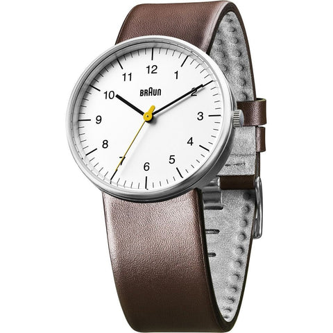 Braun BN0021WHBRG Men's Classic Analog Display Quartz Watch, Brown Leather Band, Round 38mm Case