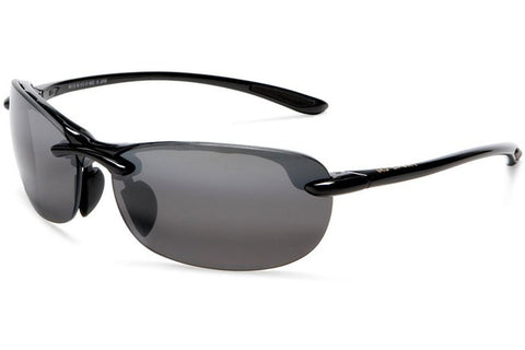 Maui Jim 413-02 Hanalei Sunglasses, Gloss Black Frame, Neutral Grey 63mm Lenses