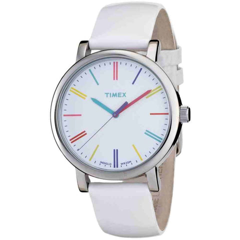 Timex T2N791 Originals Classic Analog Display Quartz Watch, White Leather Band, Round 38mm Case