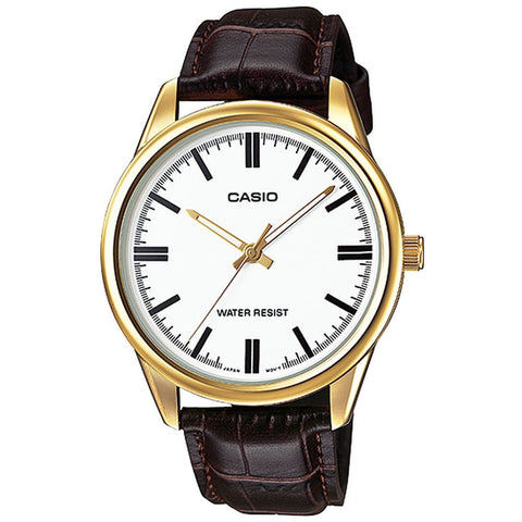 Casio MTP-V005GL-7AUDF Analog Display Quartz Watch, Brown Letaher Band, Round 40mm Case
