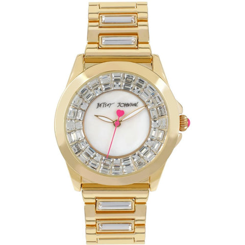 Betsey Johnson BJ00464-02 Women's Analog Display Quartz Watch, Gold Stainless Steel Band, Round 37mm Case