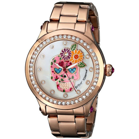 Betsey Johnson BJ00366-05 Women's Analog Display Quartz Watch, Rose Gold Stainless Steel Band, Round 42mm Case