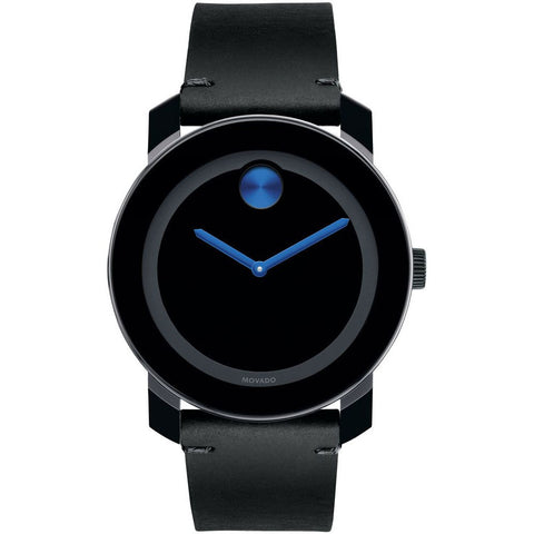 Movado 3600350 Bold Analog Display Quartz Watch, Black Leather Band with Painted Blue Edge, Round 42mm Case