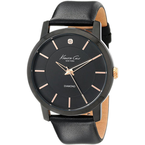 Kenneth Cole KC8106 Men's Analog Display Quartz Watch, Black Leather Band, Round 44mm Case