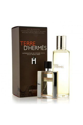 Terre D'Hermes 2 Pcs Set For Men: 1 Oz Edt Sp + 4.2 Edt Refill