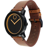 Movado 3600274 Bold Analog Display Quartz Watch, Cognac Leather Band, Round 42mm Case