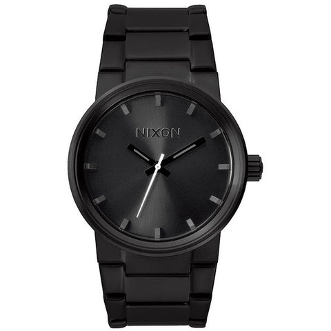 Nixon A160001 Men's Cannon All Black Analog Watch, Black Stainless Steel Band, Round 40mm Case