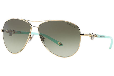Tiffany TF3034 60213M Sunglasses, Gold Frame, Green Gradient 60mm Lenses