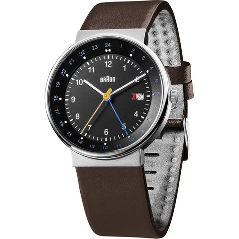 Braun BN0142BKBRG Men's Classic Analog Display GMT/Dual Time Quartz Watch, Brown Leather Band, Round 38mm Case