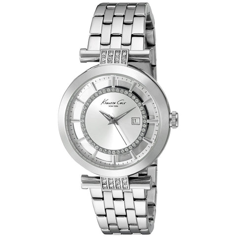 Kenneth Cole 10021103 Women's Analog Display Quartz Watch, Silver Stainless Steel Band, Round 36mm Case
