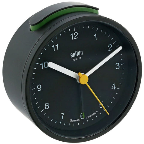 Braun BNC012BKBK Classic Analog Display Quartz Alarm Clock, Round 75mm Case, Black