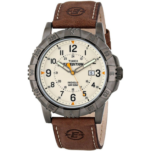 Timex T49990 Expedition Rugged Metal Analog Display Quartz Watch, Brown Leather Band, Round 45mm Case