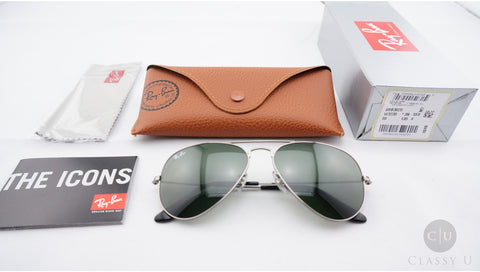 Ray-Ban RB3025 W3236 Aviator Classic Sunglasses, Gunmetal Frame, Green Classic 55mm Lenses