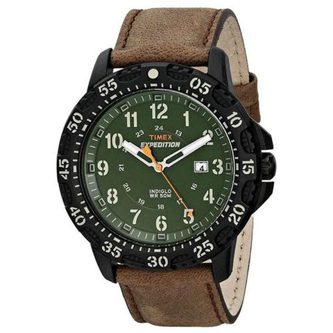 Timex T49996 Expedition Rugged Men's Analog Display Quartz Watch, Brown Leather Band, Round 44mm Case