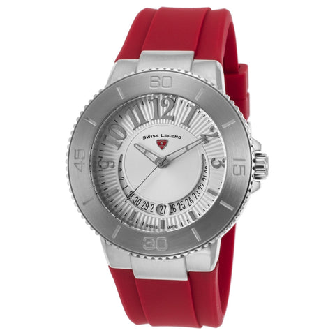 Swiss Legend SL-11315SM-02-RDS Riviera Women's Analog Display Quartz Watch, Red Silicone Band, Round 43mm Case