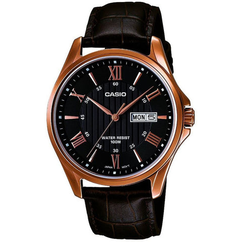 Casio MTP-1384L-1AVDF Men's Analog Display Quartz Watch, Black Leather Band, Round 41mm Case