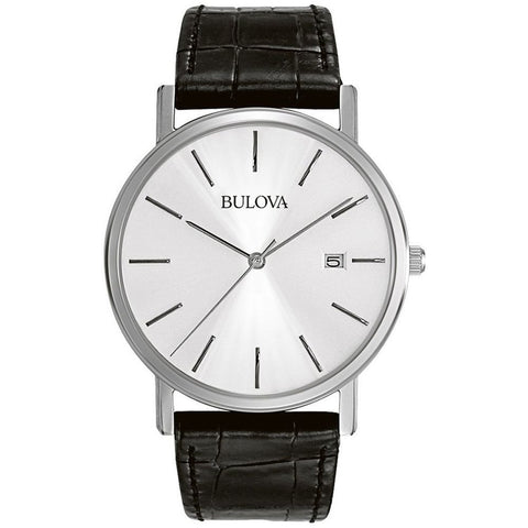 Bulova 96B104 Classic Analog Display Quartz Watch, Black Leather Band, Round 37mm Case