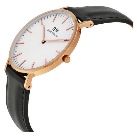 Daniel Wellington 0508DW Sheffield Quartz Analog Women's Watch, Black Leather Band, Rose Gold 36mm Case