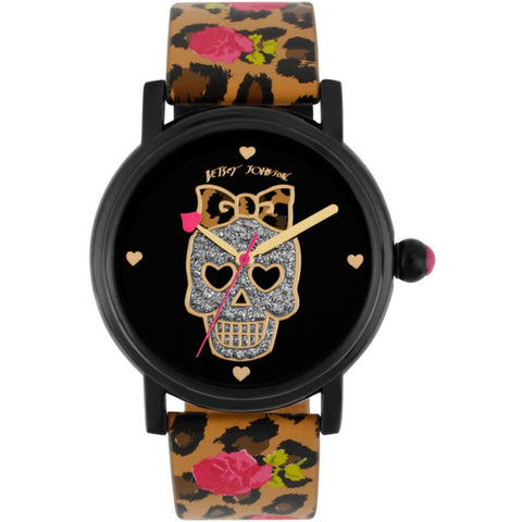 Betsey Johnson BJ00181-16 Analog Display Quartz Watch, Multicolor Polyurethane Band, Round 40mm Case
