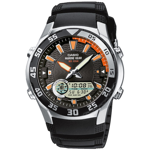 Casio AMW710-1AV Men's Analog/Digital Display Quartz Watch, Black Resin Band, Round 40mm Case